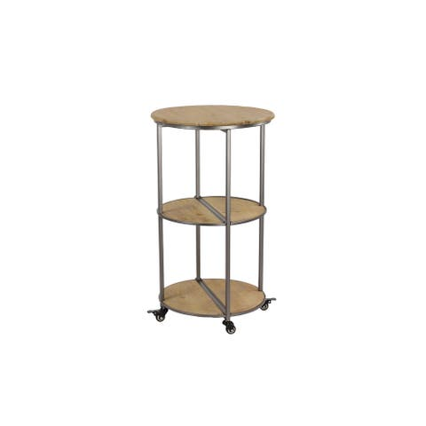 """41"""" x 34"""" 3-Tier Round Wood and Metal Collapsible Rolling Bar Cart - 20 x 20 x 35Round"""