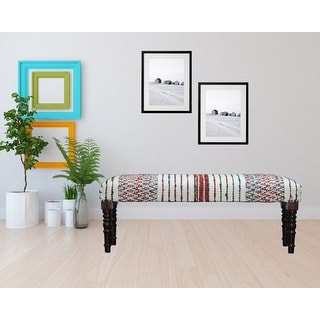Link to Colorful Chevron and Striped Chindi Bench Similar Items in Living Room Furniture