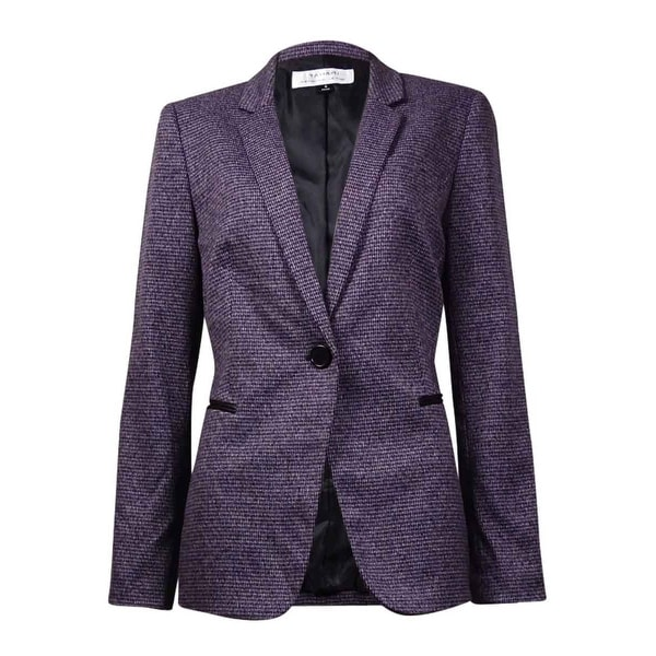 Tahari Women's Notched Lapel Houndstooth Blazer - purple/grey/black