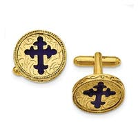 14k Gold IP Blue Enameled Cross Cuff Links