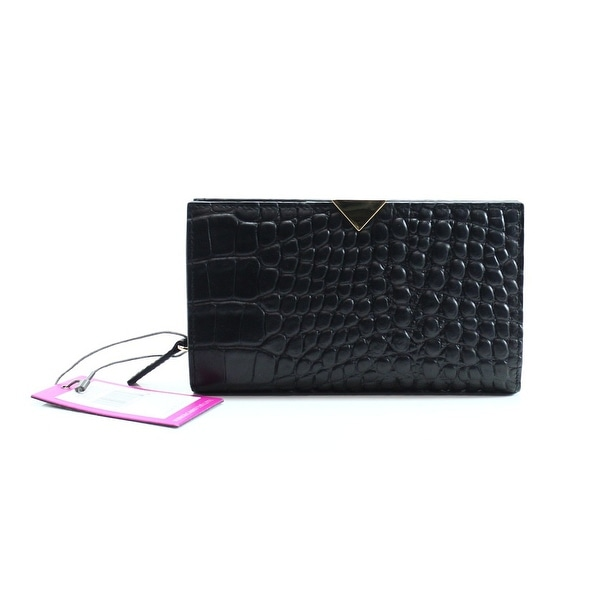 VINCE CAMUTO NEW Black Croc Embossed Leather Zinia Wallet Clutch