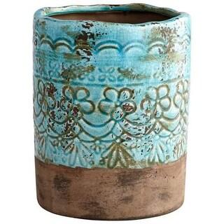 Cyan Design Small Geneva Vase Geneva 9.25 Inch Tall Terracotta Vase - blue glaze