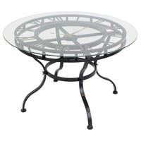 Aspire Home Accents 4844 Kyndal 24 Inch Diameter Glass Top Clock End Table - Dark Gray