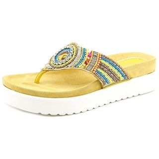 J. Renee FANTINA Open Toe Leather Flip Flop Sandal