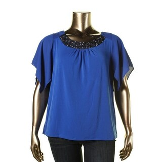NY Collection Womens Plus Embellished Flutter Sleeves Blouse - 1X