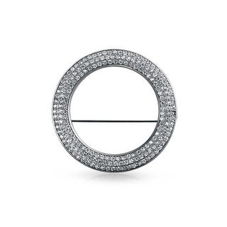 Bling Jewelry Pave CZ Open Circle Brooch Sterling Silver Bridal Pin 2in