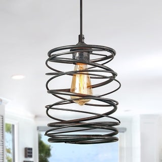 Lnc 1 Light Contemporary Ceiling Light Spiral Industrial Iron Lantern Cage Pendant For Island Kitchen Dining Room Overstock 24207049