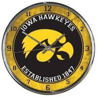 Iowa Hawkeyes Round Chrome Wall Clock