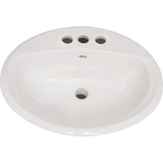 "American Standard 0475.020  Aqualyn 20-3/8"" Drop In Porcelain Bathroom Sink with 3 Holes Drilled at 8"" Centers"