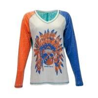 Cowgirl Tuff Western Shirt Womens L/S Burnout Tee Studs Multi
