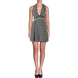 Lucy Paris Womens Romper Striped V-Neck