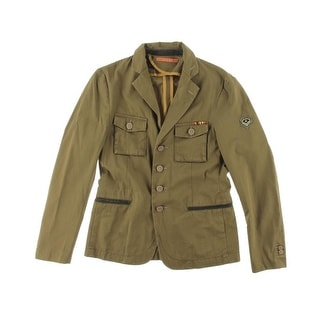 Zara Mens Twill Embroidered Military Jacket - Green
