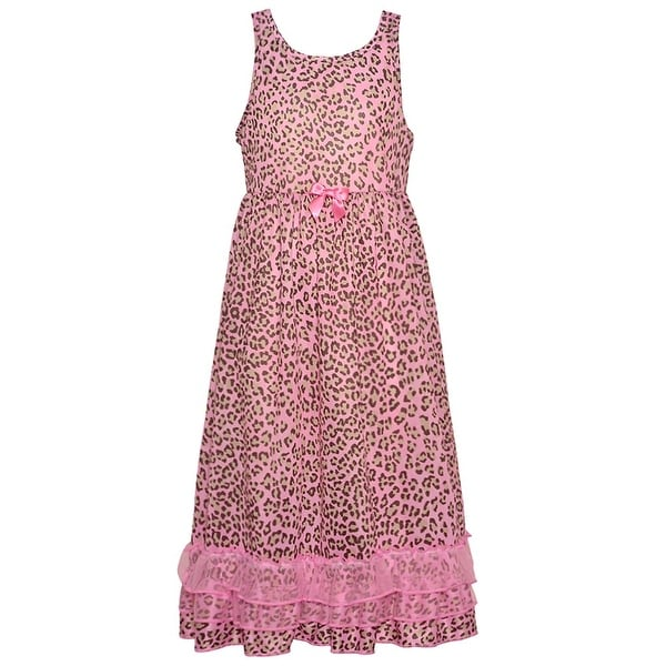 25314213e280 Shop Laura Dare Girls Pink Leopard Print Ruffle Sleeveless Nightgown - Free  Shipping On Orders Over $45 - Overstock - 19293102