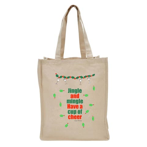 """17"""" Beige Reusable Shopping Tote Bag with Jingle and Mingle Design"""
