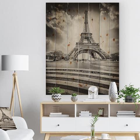 Designart 'Paris Eiffel Towerin Gray Shade' Landscape Photo Print on Natural Pine Wood - Black