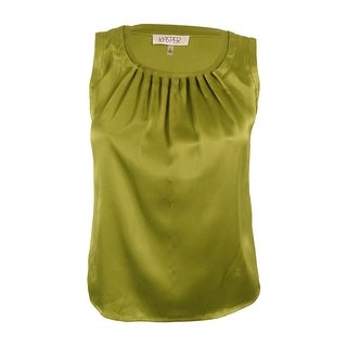 Kasper Women's Petite Pleat-Neck Sleeveless Satin Top - lime zest