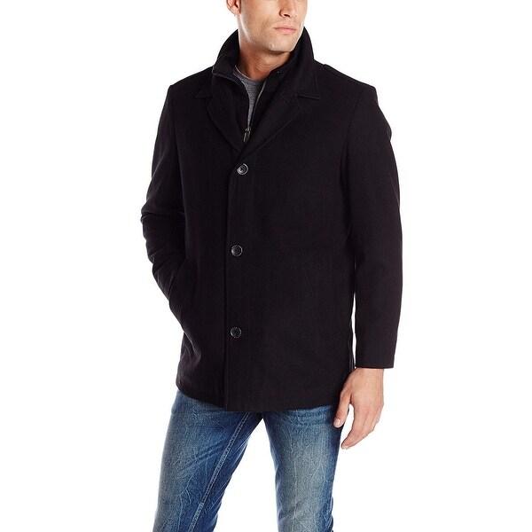 Nautica Black Mens Size Large L Single Breasted Bib Walker Coat
