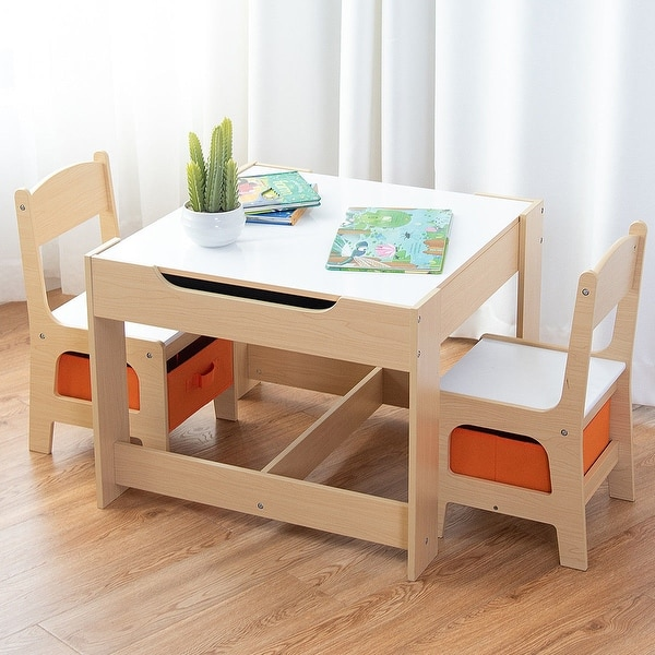 Shop Gymax Children Kids Table Chairs Set With Storage Boxes