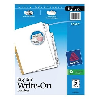 Avery 23075 5 Count Clear Write-On Dividers Dividers 5clear Tab