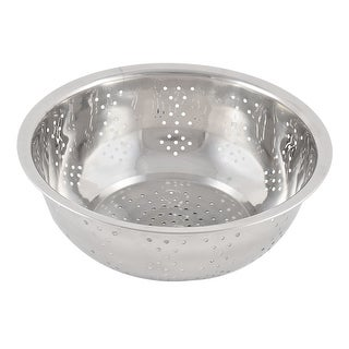 Stainless Steel Vegetable Fruit Washing Bowl Colander Silver Tone 20cm Diameter