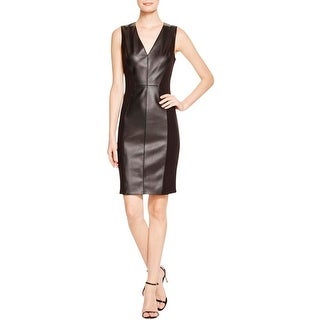 Dylan Gray Womens Wear to Work Dress Faux Leather Panel Ponte