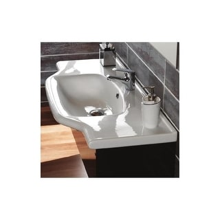 """Nameeks 081200-U  CeraStyle 31-3/5"""" Ceramic Wall Mounted Bathroom Sink with 1 Faucet Hole and Overflow - White - One Hole"""
