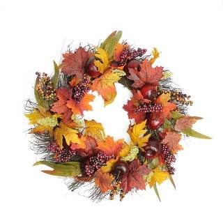 "22"" Autumn Harvest Apple, Berry and Leaf Artificial Thanksgiving Floral Wreath - Unlit"