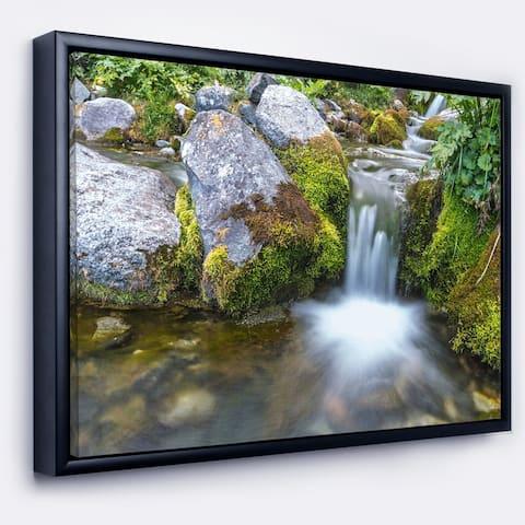 Designart 'Summer Water Stream' Landscape Photography Framed Canvas Art Print