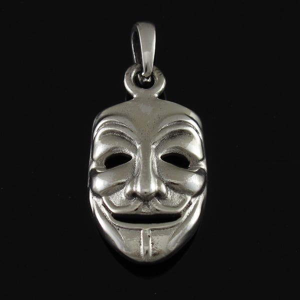 Shop Sterling Silver Guy Fawkes Mask Pendant V Vendetta One Size