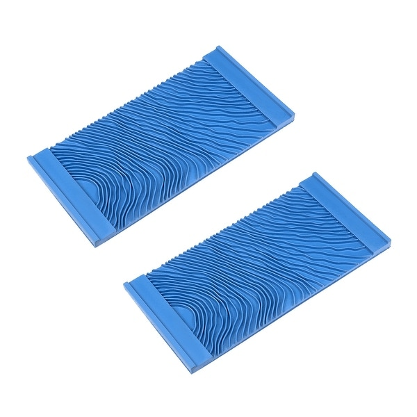 """Wood Grain Tool 6"""" Rubber Square Graining Pattern Stamp Wall Decorate Blue 2pcs"""
