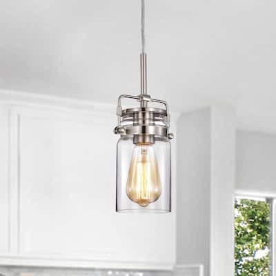 Brushed Nickel 1-Light Pendant with Clear Glass Jar Sconces - Brushed Nickel