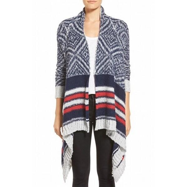 Caslon NEW Blue Women's Size XL Striped Asymmetrical Cardigan Sweater