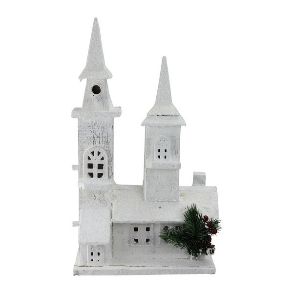 "16.5"" LED Lighted White Wooden Snowy Church Christmas Decoration"
