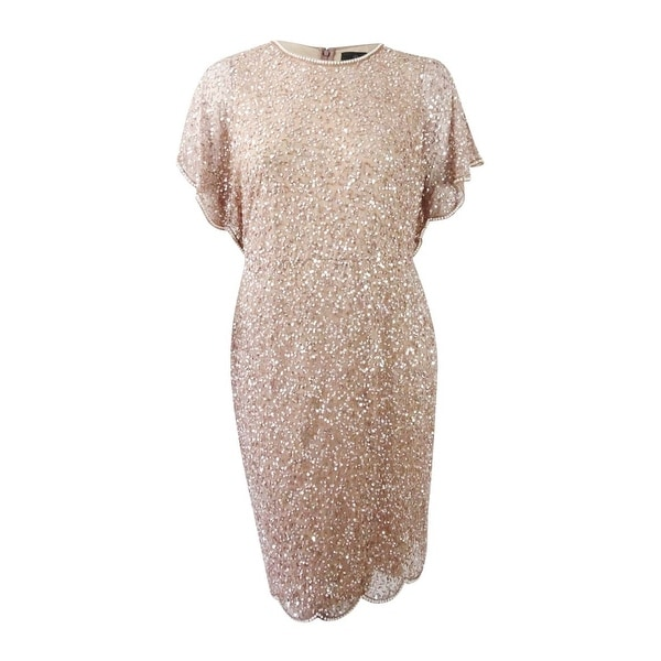 fe64b95b983 Shop Adrianna Papell Women's Plus Size Beaded Flutter-Sleeve Dress (14W,  Rose Gold) - Rose Gold - 14W - Free Shipping Today - Overstock - 25459946