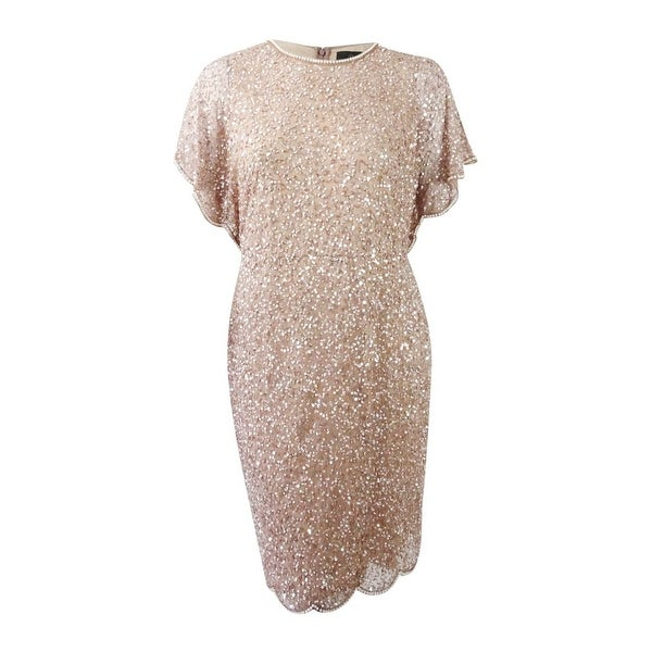 10cf2abe696d5 Shop Adrianna Papell Women s Plus Size Beaded Flutter-Sleeve Dress (14W
