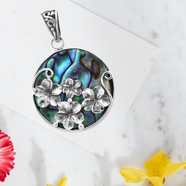 22.9 mm Weight Abalone Shell Pendant 92.5/% Sterling Silver Jewelery Pendant Height 11.34 gm Healing Gemstone 48.1  mm Pendant Width