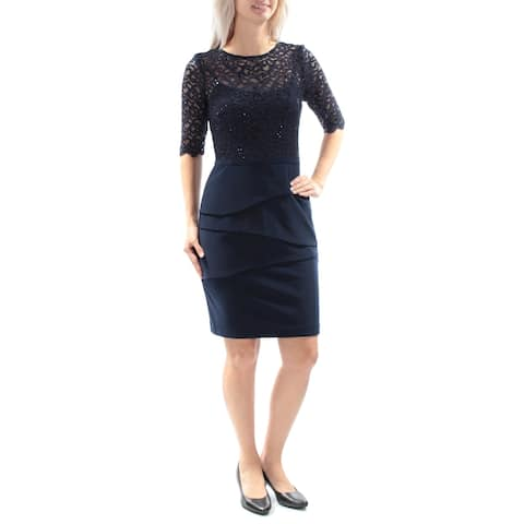 BETSY & ADAM Navy Short Sleeve Above The Knee Sheath Dress Size 6