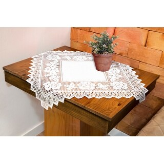 Table Topper Grega Design Brazilian Lace 29x29 Inches White Color 100 Percent Polyester