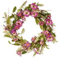 National Tree  20 in. Floral Wreath With Daisy & Lavender - Purple