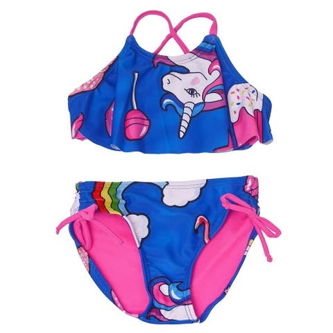c49a092afcb79 Little Girls Dark Blue Unicorn Print Flounce Overlay 2 Pc Bikini Swimsuit