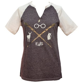 Harry Potter Wizarding Icons Split Neck Junior's Raglan T-Shirt