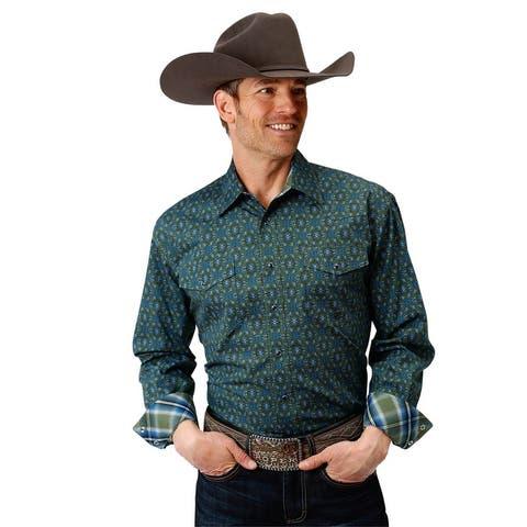 Roper Western Shirt Mens L/S Paisley Snap Green