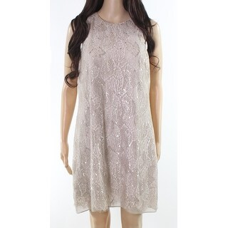 Lauren by Ralph Lauren NEW Brown Women Size 12P Petite Lace Shift Dress