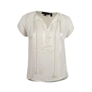 Theory Women's Alrik Silk Top (M, Ivory) - Ivory - m