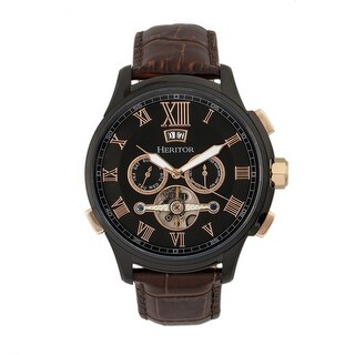 Heritor Hudson Men's Automatic Multi-function Watch, Genuine Leather Band, Sapphire-Coated Crystal, Luminous Hands