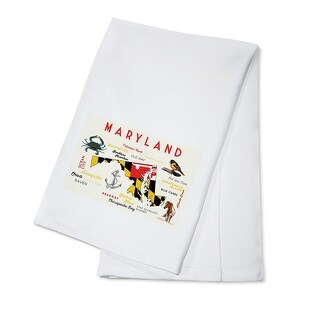 Maryland Typography & Icons Lantern Press Art (100% Cotton Towel Absorbent)
