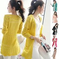 Women Koren Style Cardigan Knitwear Hollow Long Sleeve Casual Outwear Tops