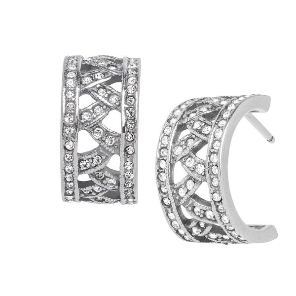 Van Kempen Art Deco Half-Hoop Earrings with Swarovski Crystals in Sterling Silver - White