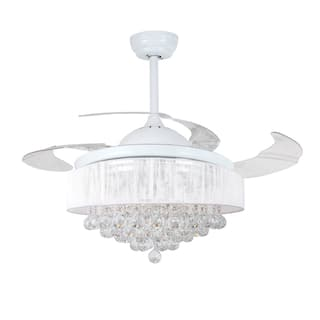 Retractable 4 Blades 42 Inch LED Crystal Ceiling Fan Fandelier Option White
