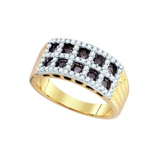 10k Yellow Gold Cognac-brown Colored Diamond Pave-set Womens Lattice Fashion Band Ring 4/5 Cttw - Brown/White